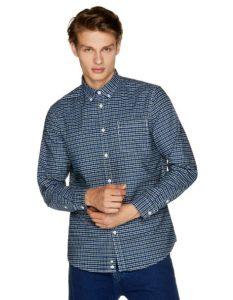 καρό πουκάμισο μπλε ρούχα Benetton χειμώνα