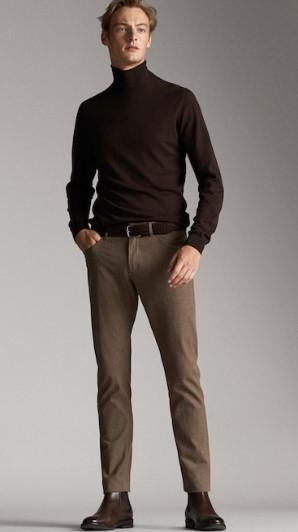 καστανό βαμβακερό slim-fit παντελόνι