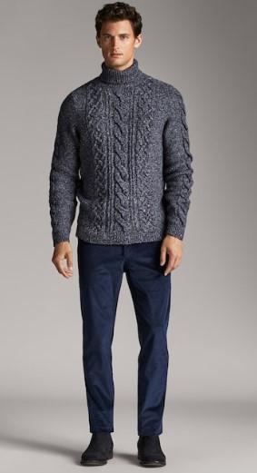 μπλε κοτλέ chino slim-fit παντελόνι
