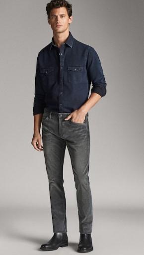 γκρι κοτλέ slim-fit παντελόνι