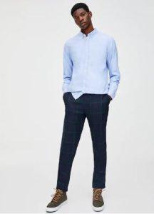 μπλε καρό παντελόνι