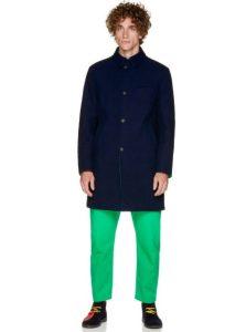 μπλε μακρύ παλτό
