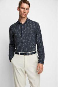 μπλε πουκάμισο με print