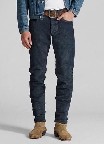 Παντελόνι μπλε suede
