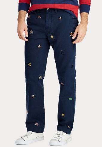 Παντελόνι βαμβακερό μπλε με σχήματα