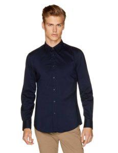 μπλε πουκάμισο κλασικό ρούχα Benetton χειμώνα