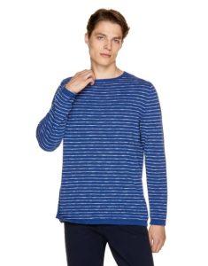 ριγέ μαυρομάνικη μπλούζα μπλε άσπρο