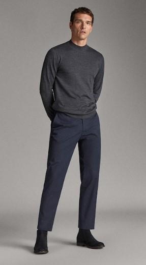 μπλε σερζέ casual-fit παντελόνι