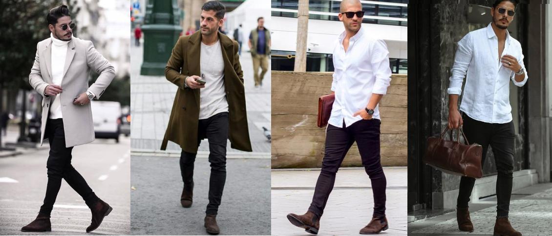 outfits για να επιλέξεις με τα καφέ σουέντ chelsea μποτάκια σου