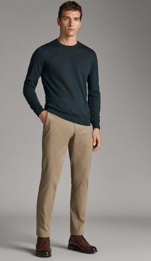 μπεζ slim-fit βαμβακερό παντελόνι