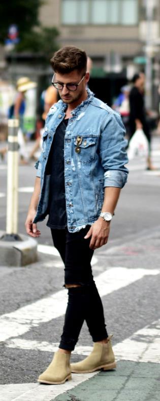 τζιν πουκάμισο μαύρο παντελόνι