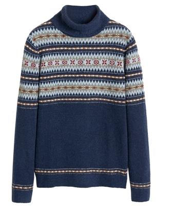 Χριστουγεννιάτικα πουλόβερ: fair isle γαλάζιο μπλε