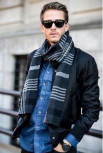 jean πουκάμισο μαύρο σακάκι ριγέ κασκόλ
