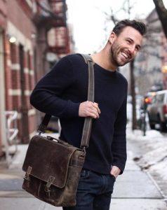 καφέ δερμάτινη τσάντα ταχυδρόμου