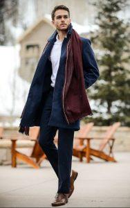καφέ oxfords μπλε παλτό παπούτσια business casual