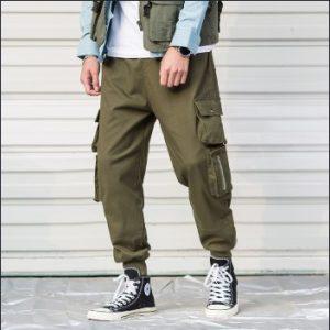 λαδί φαρδύ παντελόνι με τσέπες αντρικό