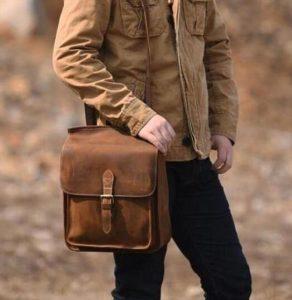 μακρόστενη καφέ τσάντα ταχυδρόμου είδη τσάντας άντρας