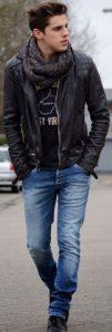 μαύρο δερμάτινο μπουφάν jean και κασκόλ