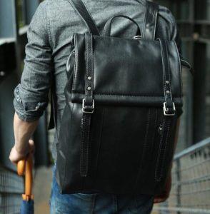 μαύρο δερμάτινο backpack είδη τσάντας άντρας