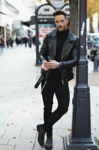 μαύρο δερμάτινο μπουφάν ανδρικά πανωφόρια χειμώνα