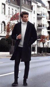 μαύρο παλτό άσπρο πουλόβερ