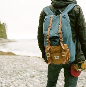 μπλε καφέ τσάντα πλάτη υφασμάτινη