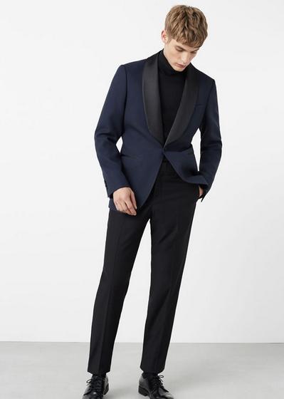 Μπλε σακάκι μαύρο ζιβάγκο και σακάκι