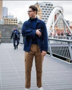 μπλε ζιβάγκο καφέ παντελόνι