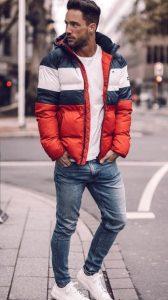 πουπουλένιο μπουφάν κόκκινο μπλε άσπρο