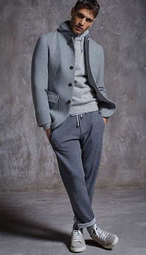 τρόποι για να συνδυάσεις τα ρούχα σου: Γκρι παλτό και φόρμα