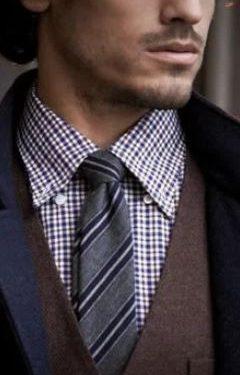 καρό πουκάμισο γκρι γραβάτα