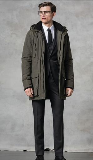 Μαυρο κουστούμι και πράσινο παλτό