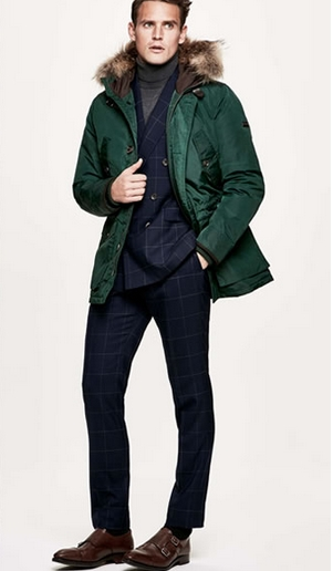τρόποι για να συνδυάσεις τα ρούχα σου: πράσινο παλτο και κουστούμι