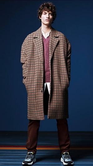 Μοβ πουλόβερ με καρό παλτό