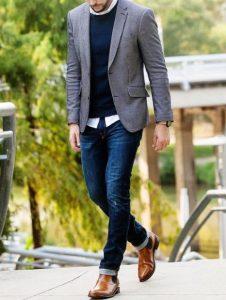 γκρι σακάκι τζιν παντελόνι καφέ μποτάκι καθημερινά outfits κομψός