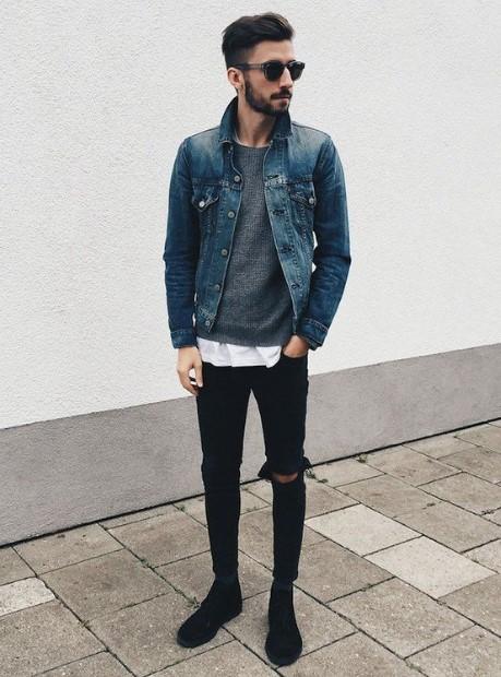 τζιν jacket μαύρο τζιν παντελόνι συνδυάσεις τζιν μπουφάν