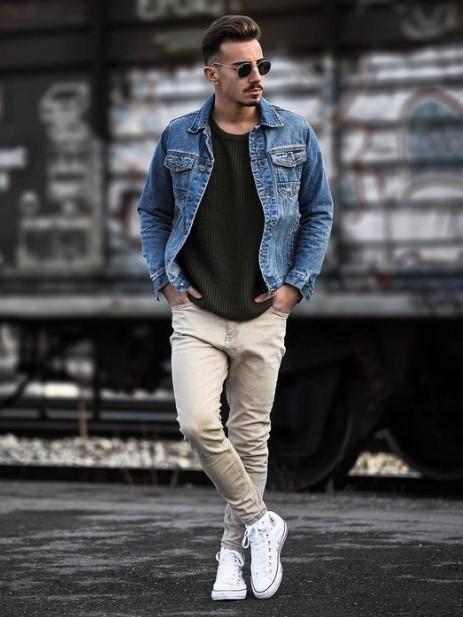 τζιν jacket μπεζ τζιν παντελόνι συνδυάσεις τζιν μπουφάν