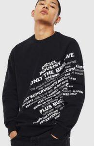 μαυρη μπλουζα diesel με γραμματα