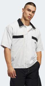 ασπρόμαυρη adidas ανδρική μπλούζα με γιακά