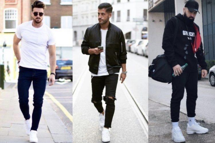 ανδρικά outfits με λευκα sneakers