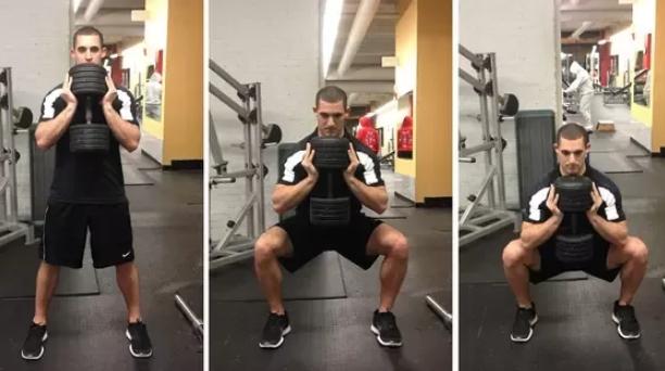 squats με βάρη για κοιλιακούς