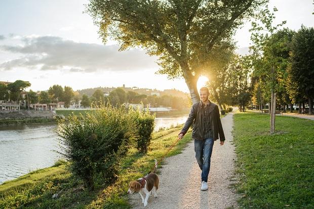 άντρας περίπατο με σκύλο