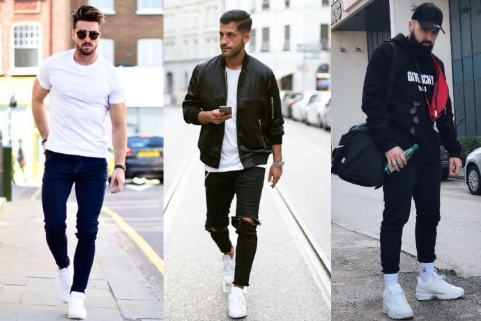casual outfits με λευκά sneakers και μαύρο τζιν