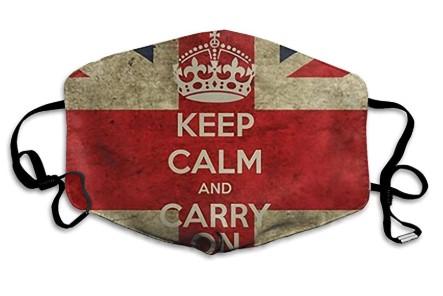 μάσκα προσώπου για τον κορωνοϊό με τη σημαία της Μεγάλης Βρετανίας