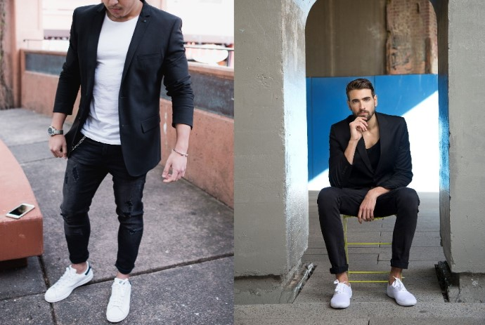 semi-formal outfits με λευκά sneakers και μαύρο τζιν