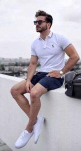 μπλε βερμούδα άσπρο πόλο μπλουζάκι βερμούδα καλοκαίρι