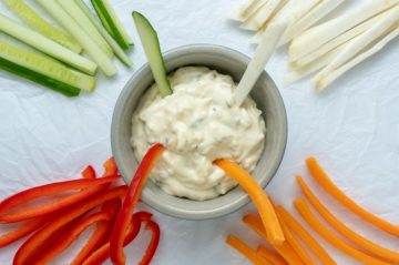 sticks λαχανικών με σως γιαουρτιού