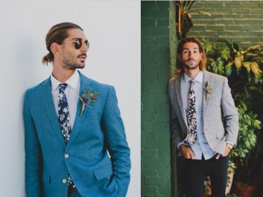 αντρικό ντύσιμο για γάμο με φλοραλ γραβάτα