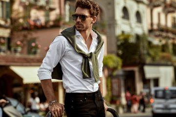 μοδάτος άντρας με λευκό πουκάμισο