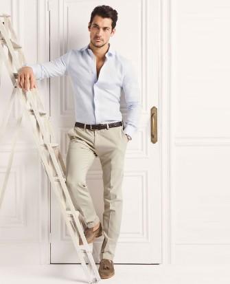 γαλαζιο ανοιχτο πουκαμισο ανδρικο μπεζ παντελονι